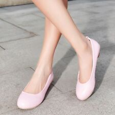 Womens Synthetic Leather Low Heels Wedges Slip-on Solid Lady Shoes Wear to Work