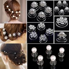 Wedding Bridal Crystal Hairpin Clip Women Girl Twist Spiral Hair Pin Headdress