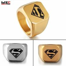 New DC Comic Superman Hero Mens Punk Ring Jewelry Stainless Steel Band Size 8-12