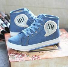 Canvas Fashion Womens Winter Blue Flat High-top shoes Shoes Causal Shoes PD41