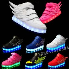 New Boys Girls LED Light up shoes Sneakers Wings Kids High Top Shoes USB Charger