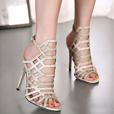 SEXY LADIES HIGH STILETTO HEEL GLADIATOR CUT OUT CAGED LACE UP SANDALS SHOES Sz