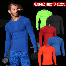 Mens warm Gym fitness long sleeve T-shirt Breathable Quick Dry thermal underwear
