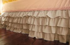 1Qty Multi Ruffle Bed Skirt Egyptian Cotton Taupe Solid 1000 TC Drop 8-30''
