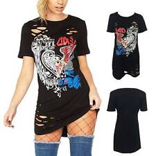 Vintage Casual Women Long Rock Style T-Shirt Party Holiday Tops Shirt Mini Dress