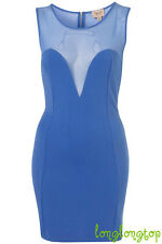 TOPSHOP DRESS UP BLUE MESH BODYCON WIGGLE FIGURE HUGGING PENCIL PARTY ZIP DRESS