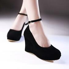 Women Platform High Heel Round Toe Faux Suede Ankle Strap Wedge Shoes New Size