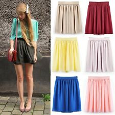 Sexy Women Retro High waist Pleated double layer chiffon Short Mini Skirt BLLT