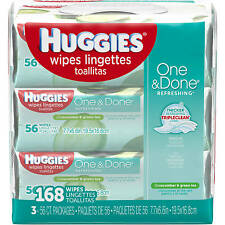Huggies One & Done Refreshing Baby Wipes Scented Hypoallergenic 56 sheets...