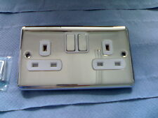 Chrome Double Plug Socket Switched chrome  switches 2 Gang 13amp 2909chw