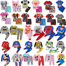 Children Kids Boys Girls Cartoon Sleepwear Nightwear Pj's Pyjamas Set Outfits