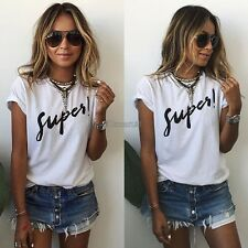Women Fashion Casual Round Neck Batwing Short Sleeve Letter Print Loose Tops OK