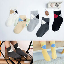 5Pairs/lot Baby Boys  Leisure Lozenge Socks Kids Girls Casual Tube Socks 5PQ