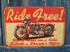 Ride Free Motorcycle Rusted Tin Sign Man Cave Home Garage Wall Decor