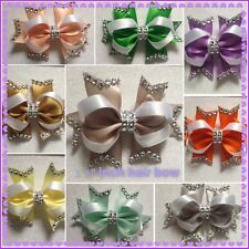 """Handmade 3.5"""" inch boutique bling hair bow clip bobble various colours + more"""