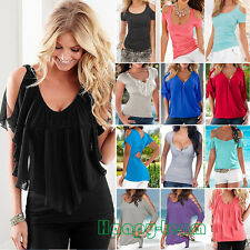 Sexy Womens Summer Short Sleeves Tops Blouse Casual V Neck Cold Shoulder T-shirt