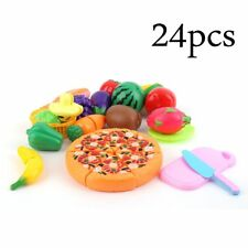 24 Pcs/Set Early Development Children Pretend Play Cut Fruit Pizza Food Toys FY