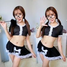 Sexy Women Costume Cosplay French Maid Lingerie Outfit Babydoll Dress Sleepwear