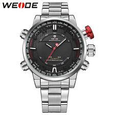 Weide Men's Watches LED Digital Analog Backlight  Alarm Steel Quartz Sport Watch