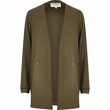 RIVER ISLAND KHAKI ZIP POCKET RELAX FIT DUSTER JACKET  sizes 8-16 RRP £38