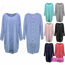 NEW WOMENS BUTTONS LONG BAGGY FIT BATWING JUMPER PLUS SIZE TOP LADIES DIP HEM