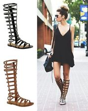 TRENDY WOMEN'S GLADIATOR SANDALS STRAPPY FLAT KNEE HIGH ZIP UP BOOTS SHOES SIZE