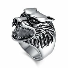 Punk Gothic Silver Wolf Head Silver Mens Ring Stainless Steel Jewelry Biker Band