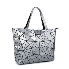 Silver Geometric Folding Shoulder Bag Women Casual Matt Shoppers Totes Handbag