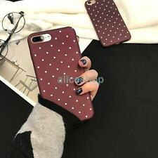 For iPhone 7 7 Plus 6 6S Plus Trendy Wine Red Polka Dots Smooth Hard Case Cover