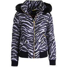 NWT JUICY COUTURE Black Label Silver Gray Abstract Down Puffer Jacket $298