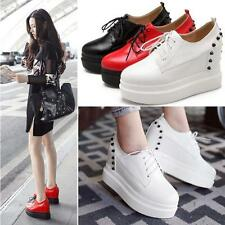 Womens Platform Wedges Spike Studded Ankle Boots High Heels Creeper Shoes New YT