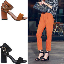 NEW WOMENS BLOCK HEEL ANKLE STRAP SANDALS PEEP TOE STRAPPY PARTY SHOES 5.5-7.5 G