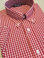 Red Gingham Check Button Down Shirt Cotton Short Sleeve Retro Slim Fit Mod Skin