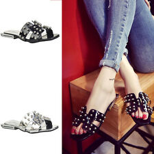 Women's Round Toe Punk Crystal Mules Sandals Flats Gladiator H Style Shoes New G
