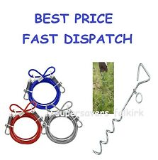 6FT TIE CABLE LEAD OUT DOWN LEASH EXTENSION WIRE DOG PET PUPPY CHEW PROOF CAMP *