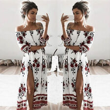 Womens Summer Beach Dress Shoulder Off High Slit Floral Print Maxi Long Dresses