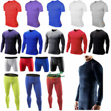 Mens Sports Skin Tights Compression Base Under Layer Fitness Pants Shirts Shorts