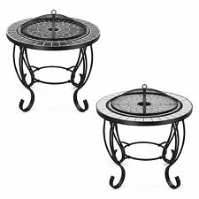 VonHaus Mosaic Fire Pit Coffee Table Garden Brazier BBQ Outdoor Patio Heater