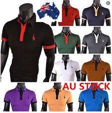 AU Men Short Sleeve Slim Fit T-shirt Fawn Blouse Polo Custom Casual Sport Tops