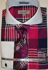 Mens Fuschia Bold Check Double Cuff Dress Shirt Awesome Tie Fratello FRV4124