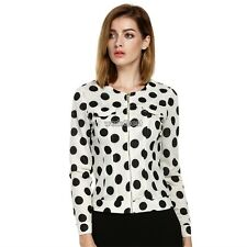 Finejo Cute Ladies Casual Polka Dot Zipper Long Sleeve Slim Coat Jacket WST