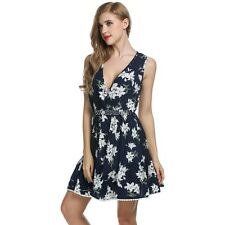 Zeagoo Women Crossover Deep V-Neck Sleeveless Floral Print Swing Dress WST