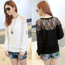 Women Round Neck Batwing Long Sleeve Dolman Lace Splice Loose T-Shirt Blouse Top