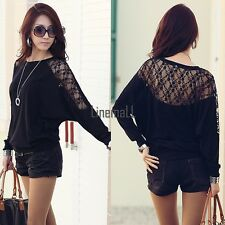 Black Women's Batwing Lace Shirts Blouse Tops T-Shirt Round Neck Oversize LM