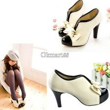 Sexy Lady Beige Bow Pump Platform  Women High Heel Shoes OK01