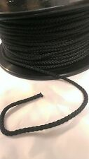 3mm 8 strand polyester cord.General purpose cord (black) by the metre