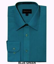 MEN DRESS SHIRTS BY DIMENSION COMFORTABLE FIT SOLID COLOR BUSINESS SHIRTS TEAL