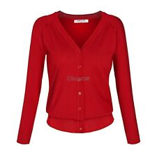 Angvns Stylish Ladies Women Casual Long Sleeve V Neck Solid Button Knitting OK02