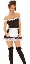 Sexy French Maid Waitress Fancy Dress Costume Outfit 8-10 / 12-14