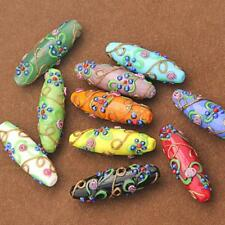 Pack of 5pcs Delicate Colored glaze Flower Carved DIY Beads Pendant